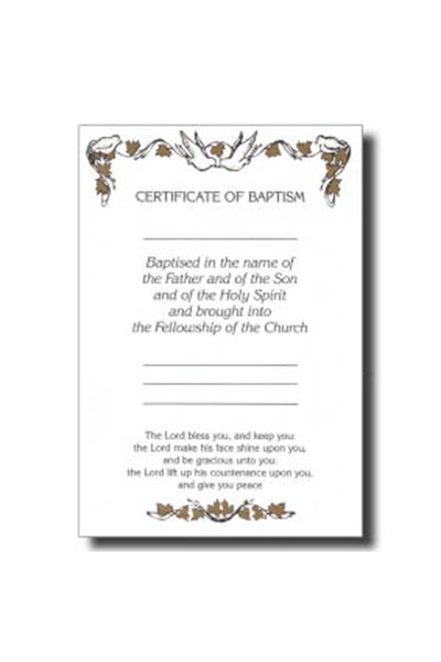 CO02 Certificate of Baptism 'Doves' (Pack of 10)